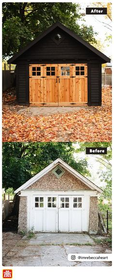 Looking to renovate an exterior space? Here's How this century old garage got this beautiful facelift. Garage Renovation, Garage Makeover, Old Garage, Garage House, Outdoor Projects, Home Projects, Garage Exterior, Door Sets, Selling Furniture