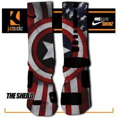 Custom Nike Elite The Shield socks Nike Elite Socks, Nike Socks, Basketball Socks, Socks And Sandals, Red White Blue, Captain America, Trending Outfits, Cute, Etsy
