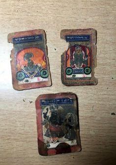 Ancient Old 3 Pc Artist Rare Fine Miniature Paper Painting Of Lord Shreenath ji