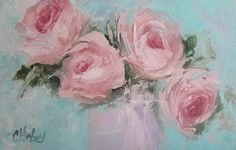 Pastel Pink Roses Painting Painting by Chris Hobel