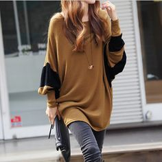 Women's Two Tone Batwing Casual Top