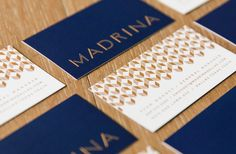 Logo, logotype, gold block foiled menus, business cards and signage by Mast for French inspired Mexican restaurant Madrina. Cafe Branding, Branding Agency, Restaurant Branding, Corporate Branding, Menu Design, Print Design, Graphic Design, Brand Identity Design, Branding Design