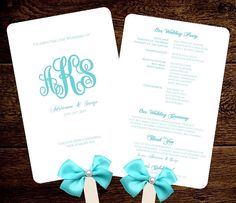Tiffany Blue Clic Beautiful Monogram Wedding Fan Program Printable Instant Editable Change Colors Fonts Included