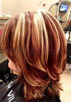 35 Ideas hair ombre short red cut and color for 2019 - Schulterlange Haare Ideen Hair Highlights And Lowlights, Hair Color Highlights, Red Hair Color, Hair Color Balayage, Blonde Color, Ombre Hair, Caramel Highlights, Blonde With Red Highlights, Haircolor
