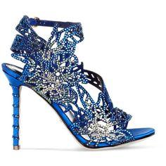 Sergio Rossi Blue Satin Chloris Sandal with Swarovski Crystals ($794) found on Polyvore