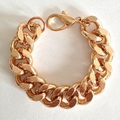 Rose Gold Chunky Curb Chain Bracelet by IMaccessories on Etsy, $10.99 Love it!