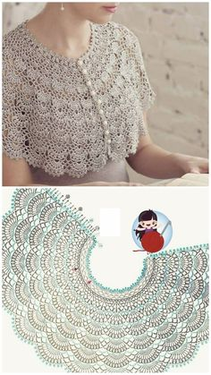 Col Crochet, Crochet Coaster Pattern, Crochet Edging Patterns, Crochet Cape, Crochet Collar, Crochet Diagram, Crochet Motif, Crochet Designs, Knitting Patterns
