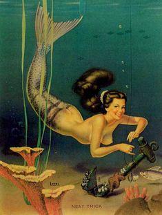 """Neat Trick"" by Bill Layne. 1950s postcard"