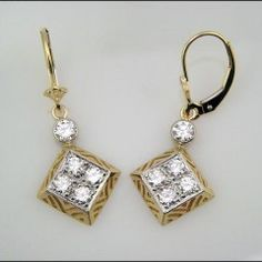 Yellow Gold Art Deco Pierced Pyramid Earrings with Diamond Stones by Tom Mathis