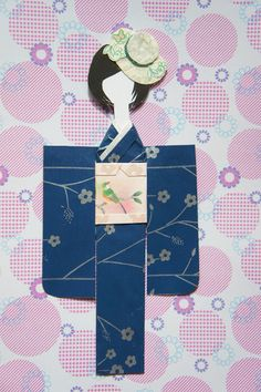 Navy Blue Kimono Paper Doll With Hat