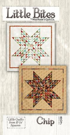 Chip Star Mini Quilt - Miss Rosie's Quilt Co Little Bites - Modern Quilting Pattern - Uses Moda Candy (2-1/2 inch square precuts)