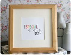 une jolie collection de choses à imprimer et à créer Special Every Day framed print
