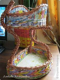 Поделка изделие Плетение Подставка для кухни Трубочки бумажные фото 5