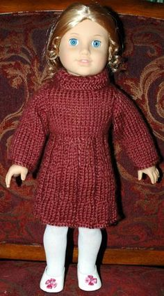 ABC Knitting Patterns - American Girl Doll Dress for Uma and Josephina Knitted Doll Patterns, Doll Dress Patterns, Knitted Dolls, Knitting Patterns, Free Knitting, Crochet Patterns, Free Crochet, Barbie Patterns, American Girl Outfits