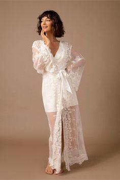 White Bridal Robe, Bridal Robes, Wedding Night Lingerie, Bridal Lingerie, Sleepwear Women, Pajamas Women, White Kimono, White Dress, Bridal Wardrobe