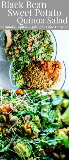 Black Bean Sweet Potato Quinoa Salad with Smoky Pepitas and Roasted Jalapeño Lime Dressing - Vanilla And Bean