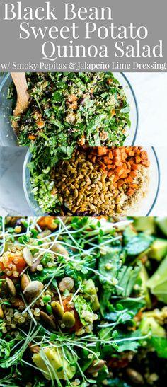 Black Bean Sweet Potato Quinoa Salad with Smoky Pepitas and Roasted Jalapeño Lime Dressing - #PlantBased #veganfood #Vegetarian #GlutenFree