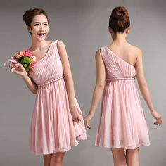 Hey, I found this really awesome Etsy listing at https://www.etsy.com/listing/187022875/pink-short-chiffon-bridesmaid-dress-with