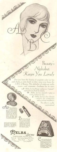 VTG 1928 MELBA Lov'Me Face Powder MAKEUP Beauty ART DECO Compact Lipstick AD #Melba