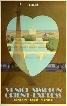 Paris Venice Simplon Orient Express, 1981 - original vintage poster (one of a series) by Fix-Masseau listed on AntikBar.co.uk