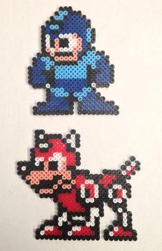 Megaman and Rush Hama and Pyssla beads by AlbertoBen on deviantART