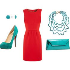 Red Turquoise Dress Outfit-my wedding colors =) Turquoise Dress Outfit, Red Dress Outfit, Dress Outfits, Turquoise Outfits, Turquoise Fashion, Work Outfits, Prom Dresses, Turquoise Accessories, Turquoise Clothes