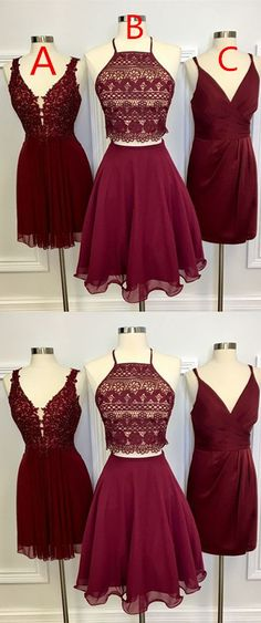 Two Piece Square Knee-Length Burgundy Homecoming Dress with Lace by ainiprom, $96.27 USD