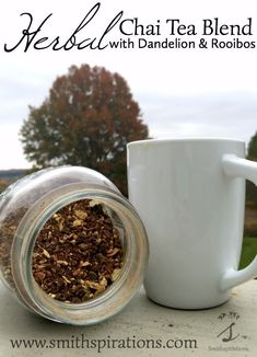 This is a fantastic homemade chai blend! Caffeine-free chai is easy to make with rooibos tea and roasted dandelion root, and the flavor is amazing. Makes a great iced chai or hot chai, too! Herbal Chai Tea Blend with Dandelion and Rooibos: Dandelion Root Tea, Best Non Alcoholic Drinks, Chai Tea Recipe, Recipe Spice, Tea For Colds, Healthy Herbs, Healthy Foods, Healthy Recipes