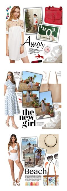 """""""My looks"""" by federica-m ❤ liked on Polyvore featuring Betsey Johnson, Carvela, Wet n Wild, outfit, Street Level, vintage, shirtdress, gingham, uniquevintage and Bueno"""