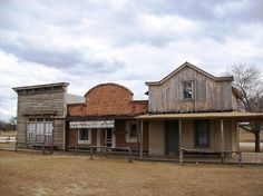 Three buildings lined up along Main Street at the reproduction western town of Alamo Village (alamovillage045xy) by mlhradio, via Flickr