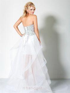 Amazing A-line Sweetheart Asymmetrical Organza Beading White Cocktail Dresses $134.99 - Trendget.com