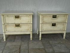 these need a paint jb, but, love.  Vintage Pair of Faux Bamboo Night Stands Hollywood Regency