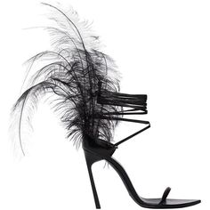 Saint Laurent Women 105mm Talitha Feathered Leather Sandals ($1,505) ❤ liked on Polyvore featuring shoes, sandals, heels, black, leather heeled sandals, leather sole sandals, black high heel shoes, high heeled footwear and leather lace up sandals