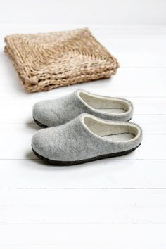 Boiled wool eco shoes for home wear.  These felted rustic slippers are made from wool which is not colored and not processed, only washed. Felt #scandinavianstyle #hyggeslippers provides best wool features for your feet. Click there to find more coloured soles option. Hygge, Scandinavian Fashion, Felted Slippers, Natural Latex, Sheep Wool, Trends, Low Heels, Suede Leather, Gifts For Women