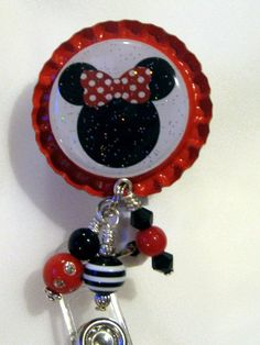 bottle cap charms | Red Minnie Mouse Inspired ID Badge Reel Bottle Cap Jewelry