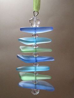~ Sea Glass Christmas Tree Ornament ~ This beautiful modern abstract sea glass Christmas tree ornament is hand crafted using sapphire blue,
