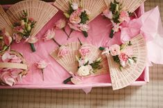bouquet alternative for bridesmaids ~ sandalwood fans with pretty posies