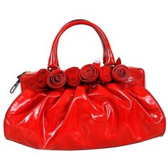 Pre-owned Valentino Candy Patent Leather Rose Embellished Red Tote Bag (14.050 ARS) ❤ liked on Polyvore featuring bags, handbags, tote bags, red, coin purse, structured tote, red patent handbag, red tote bag and tote handbags