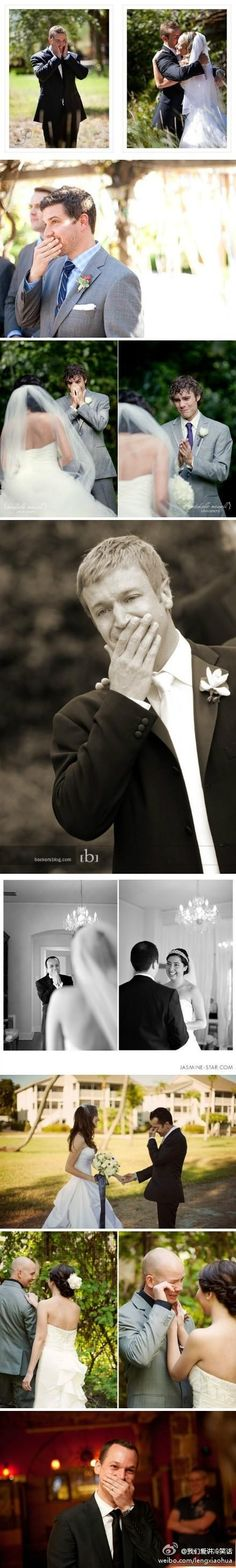 photos of when grooms first see their brides- adorable!