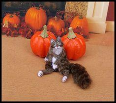 OOAK Dollhouse Miniature Cat Tomas 1:12 Handmade Kitten Kitty Pet Animal