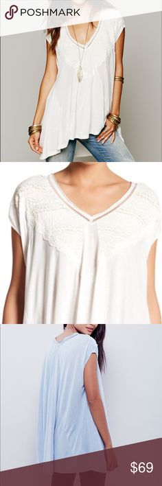 Free People Oversized Tunic Off white free People Oversized Tunic Nwt super soft and flowy available in blue and off white . Embroidery detail along the V neckline Free People Tops
