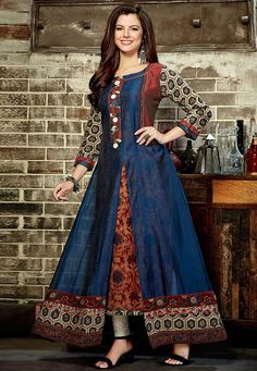 Kurti collection for any women buy online. Order this rayon print work party wear kurti for party. Western Dresses, Western Outfits, Western Wear, Women's Fashion Dresses, Casual Dresses, Kurti With Jacket, Cotton Gowns, Latest Kurti, Ethnic Gown