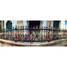 Colorful Bonfim wish ribbons tied around at Church of Nosso Senhor do Bonfim Pelourinho Salvador Bahia Brazil Canvas Art - Panoramic Images (30 x 12)