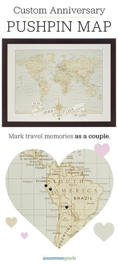 A wedding or anniversary gift that let's couples track their adventures around the world. Mark hometowns, honeymoon spots, favorite vacation destinations and more as an artful and sentimental way to celebrate traveling as a twosome.