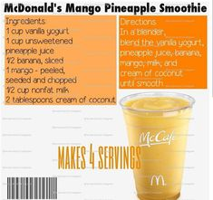 McDonald's mango pineapple smoothie