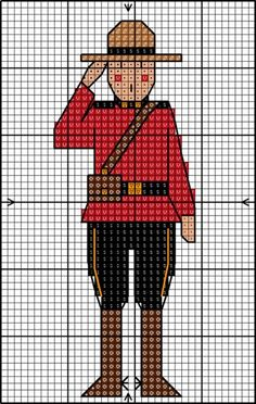 Canadian Mountie - if I change the coat to blue, I've got a NJ State Trouper :-) Cross Stitch Freebies, Cross Stitch Charts, Cross Stitch Designs, Cross Stitch Patterns, Canadian Quilts, Canada Day Crafts, Plastic Canvas Patterns, Cross Stitching, Children's Quilts