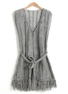 Grey V Neck Sleeveless Belted Vest
