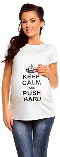 Zeta Ville - Camiseta para embarazadas KEEP CALM AND PUSH HARD para mujer 427c (Blanquecino, 38/40) #camiseta #realidadaumentada #ideas #regalo