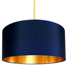 Buy Fabric Lampshade - Midnight Blue & Gold from our Pendant Lights range at Red Candy, home of quirky decor. Navy Bedrooms, Blue And Gold Bedroom, Dark Blue Living Room, Fabric Lampshade, Copper Lampshade, Gold Line, My New Room, Home Interior, Blue Gold
