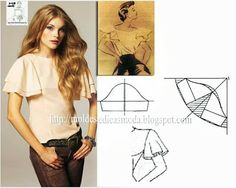 Illustrates perfectly,how to alter a sleeve pattern to make a flutter sleeve - been looking for this for ages! Diy Clothing, Sewing Clothes, Clothing Patterns, Dress Patterns, Sewing Patterns, Fashion Sewing, Diy Fashion, Ideias Fashion, Techniques Couture